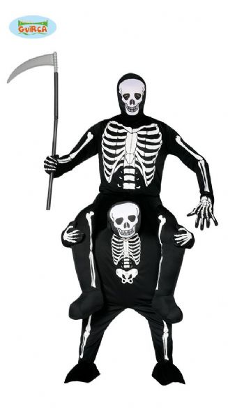 Adult Skeleton Ride On Me Carry Piggy Back Fancy Dress Costume Halloween